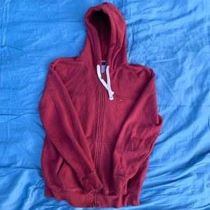 Red Tommy Hilfiger zip-up jacket